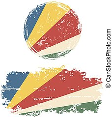 Seychelles round and square grunge flags Vector illustration...