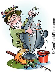 A happy angler - Vector cartoon illustration of a happy...