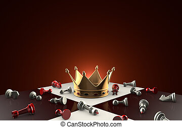 Golden Crown (fabulous dream or a symbol of power). Chess metaphor.