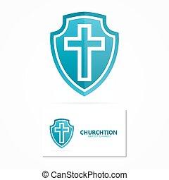 Church and religion cross logo