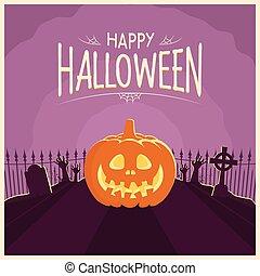 Halloween Pumpkin Carving In a Graveyard Card Purple