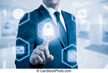 Business concept man pressing selecting data protection -...