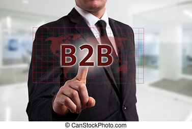 Business intelligence concept man pressing selecting B2B