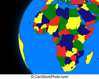 African continent on political Earth