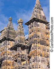 Rooftop pinnacle of Rosslyn chapel, Scotland - Intricate...