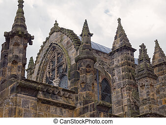 Rosslyn chapel, Scotland - Roof and pinnacles of ornate...