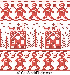 Scandinavian nordic christmas pattern with ginger bread,...
