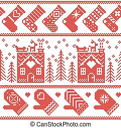 Scandinavian nordic christmas seamless pattern with ginger...