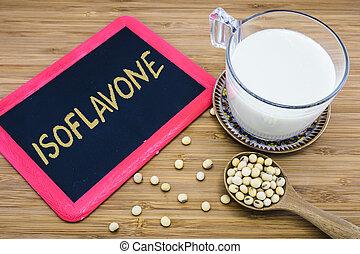 Isoflavone in soybeans - Isoflavone written on chalkboard...