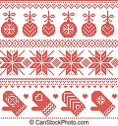 Scandinavian nordic seamless christmas pattern with baubles, gloves, stars,  in red cross stitch