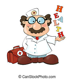 Happy doc - Medical cartoons - Doctor posing. Detailed...