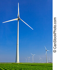 Wind turbine in dutch landscape - Wind turbine in...
