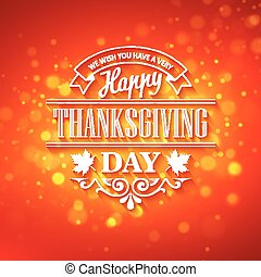 Vector typography design Thanksgiving Blurred and boke...