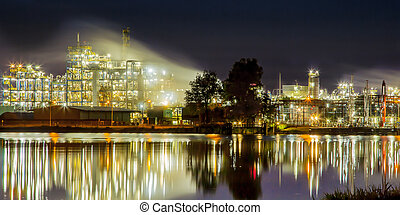 Chemical Industrial  area detail refelction in water