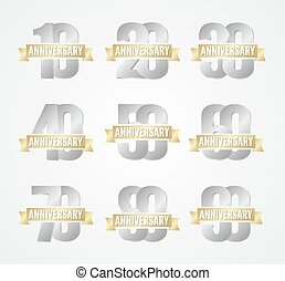 Set of anniversary silver signs
