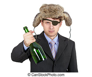 Russian business man in hat earflaps, offers to drink alcohol