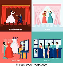 Theater 4 flat icons square banner - Theater performance...