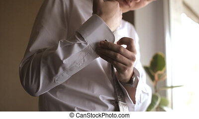 Groom buttons cuffs on sleeves shirt - Groom buttons cuffs