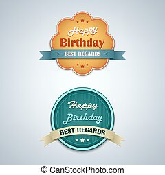 Birthday labels vintage retro design style vector eps 10