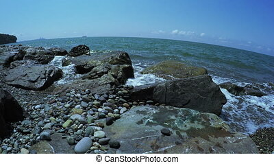 Stones on beach - Wild stony shore of Black sea