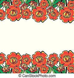Large red flowers border