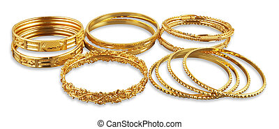 bangles - Golden bangles with clipping path