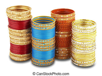 bangles - Four stacks of colorful bangles