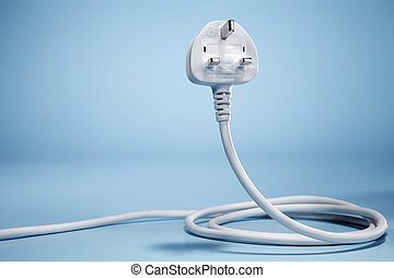 electricity cable curled up - White electricity cable curled...