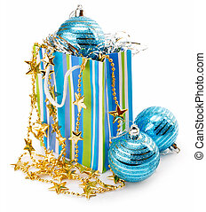 Christmas holiday decoration with blue balls and gold stars...