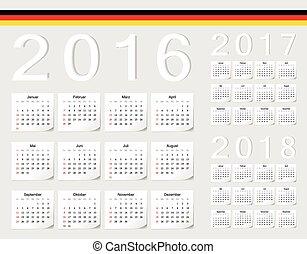 ベクトル, セット, カレンダー, ...