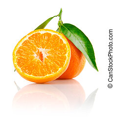 fresh mandarine fruit with cut and green leaves