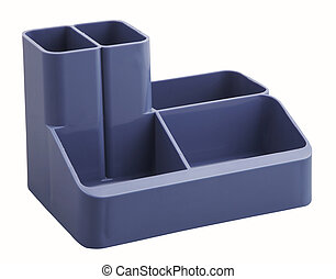 Blue desk organiser with clipping path