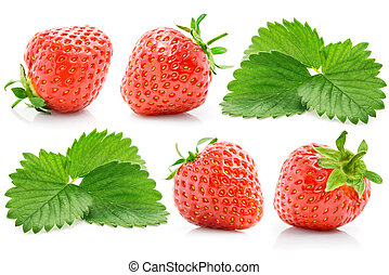 set fresh red strawberry with green leaves isolated on white...