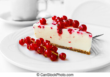 Red currant cake - Red currant cheesecake on plate with...