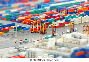Cargo port and container terminal, Barcelona - View of the...