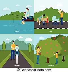 Fatherhood flat set - Four color fatherhood flat posters set...