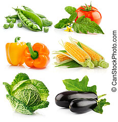 set of vegetable fruits isolated on white background