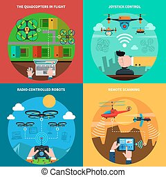Drones concept 4 flat icons square - Quadcopters and drones...