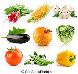set of vegetable fruits isolated on white
