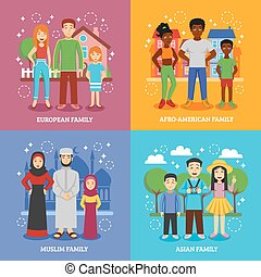 National Families Icons Set - National families icons set...
