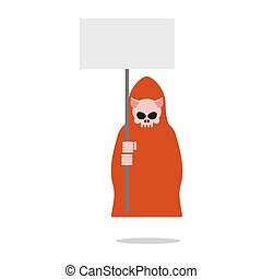 Pig death in red clothes holding an empty plate.  Grim Reaper for farm animals. Illustration for Halloween.