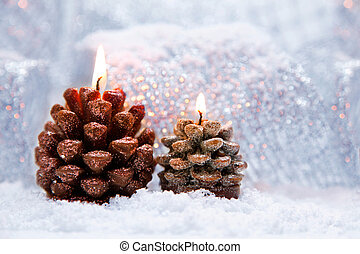 Christmas holiday decoration with burning candles