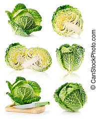 set fresh green cabbage fruits isolated on white