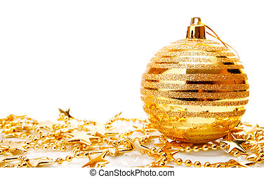 Christmas holiday decoration with gold bowl and stars