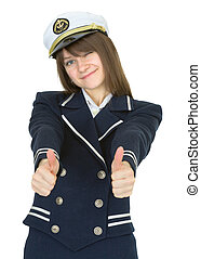 Woman in uniform sea captain, isolated on white background