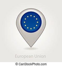 European Union flag pin map icon