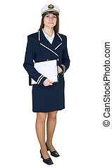 Serious woman in uniform sea captain with tablet