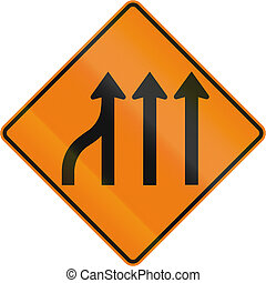 Left Lane Ends in Canada - TemporaryWorks road sign in...