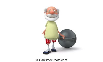 3d pensioner with the weight - the cheerful grandfather...