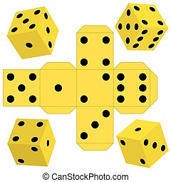 Dice - Illustration of the dice cubes and template